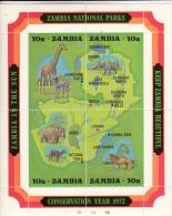 Zambia MNH Scott #85 Souvenir Sheet Of 4 Map Of Zambia And Wildlife - Conservation Year - Zambie (1965-...)