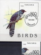 WWF Naturschutz 1992 Tanzania 1412 Plus Block 190 O 13€ Vögel Kuckuck Blocchi Bf M/s Fauna Bloc Birds Sheet Of Tanzanie - Cuckoos & Turacos