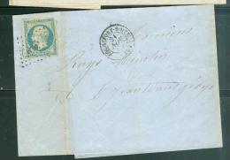 Yvert N°14 Sur Lac Oblitéré Pc 2703 ( Rochefort ) En Nov 1854    - Lp266128 - Postmark Collection (Covers)