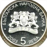 BULGARIA 5 LEVA EMBLEM FRONT GERMANY SOCCER SPORT BACK 2003 PROOF AG SILVER KM268 READ DESCRIPTION CAREFULLY!! - Bulgaria