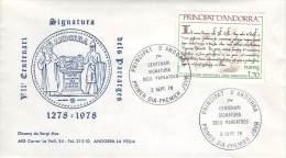 Principat D'Andorra - FDC, Primer Dia, PJE - 1978, 1278-1978 VIIe Centenary Dela Pareatges, Signatura - FDC
