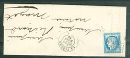 Yvert N°60 Sur Lac Oblitéré Gc 1517 ( La Fleche ) En Mars 1874  - Lp26709 - Postmark Collection (Covers)