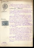 PAPIER TIMBRE FRANCE 1891 Fiscaux , Huissier  :E.TAILLEUX   Document D´Etude ( Seine Maritime Le HAVRE ) Etat PERIER