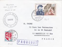 """France Obl """"KOBE PORT JAPAN """" JAPON + PAQUEBOT  Sur Lettre Postée à Bord Du  """"VANOISE """" POSTE MARITIME / ESCALE - Storia Postale"""