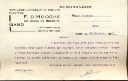 Factuur Brief Lettre Gent - Memorandum F. D'Hooge 1937 - Non Classés