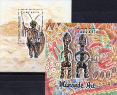 Trachten Krieger Zulu 1992 Tanzania Block 208+236 ** 5€ Stammestracht Sculptur Man Blocchi Bf Bloc Art Sheet Of Tanzanie - Tanzanie (1964-...)