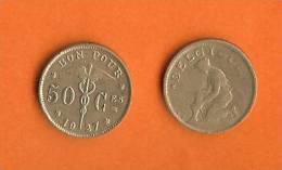 BELGIUM 1922-1939 50 Centimes KM88  French - 1909-1934: Albert I