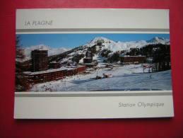 CPM  73  SAVOIE LA PLAGNE  CENTRE  STATION OLYMPIQUE   VOYAGEE 1992 TIMBRE ALBERTVILLE 92 - Autres Communes