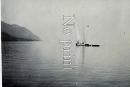 Glion Photo De 1899  - Suisse - Territet  Lac Léman Voilier - Photographie Originale  - Commune De Montreux - Places