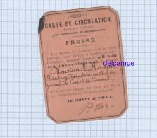 Carte De Presse - 1891 - Carte De Circulation Pour Voiture - M. Hamm Rédacteur En Chef Du Journal Le Constitutionnel - Tickets D'entrée