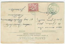 FRANCE TYPE MOUCHON SUR CARTE POSTALE CACHET GAVARNIE EN BLEU HAUTES PYRENEES - 1877-1920: Periodo Semi Moderno