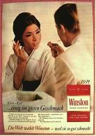 Reklame Werbeanzeige  ,  Winston  -  ....einig Im Guten Geschmack  -  Von 1965 - Raucherutensilien (ausser Tabak)