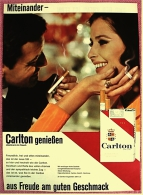 Reklame Werbeanzeige  ,  Carlton Cigaretten  ,  Miteinander - Aus Freude Am Guten Geschmack  -  Von 1965 - Raucherutensilien (ausser Tabak)