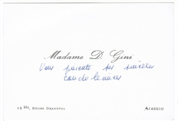 MADAME D. GINI 12 BIS COURS GRANDVAL AJACCIO ( CORSE ) - Cartes De Visite