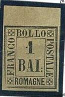 ANTICHI STATI - ROMAGNE - 1 BAI - BRUNO GRIGIO - BORDO DI FOGLIO - NUOVO * HINGED - ORIGINALE GARANTITO - Romagne