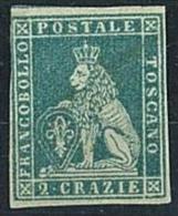 ANTICHI STATI - TOSCANA - 2 CRAZIE - AZZURRO VERDASTRO SU AZZURRO  N° 5c - NUOVO SENZA GOMMA- MARGINE CORTO - DIFETTOSO - Toscane