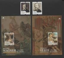2 X 2 Stamps S/ Sheet PORTUGAL RICHARD WAGNER & GIUSEPPE VERDI 2013  OPERA MUSIC - 1910-... Republic