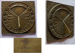 ANCIEN CADRAN SOLAIRE BRONZE MUTUELLES DU MANS - Bronces