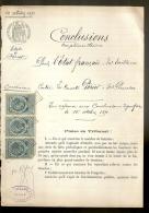 PAPIER TIMBRE FRANCE 1891 Fiscaux , Huissier  :E.TAILLEUX   Document D´Etude ( Seine Maritime Le HAVRE ) Etat PERIER - Decreti & Leggi