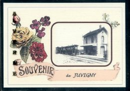 51  JUVIGNY  ..  ....  Gare. Souvenir Au Fusain Creation Moderne Série Limitée Et Numerotée 1 à 10 ... N° 2/10 - Autres Communes