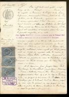 PAPIER TIMBRE FRANCE 1893 Fiscaux , Huissier  :E.TAILLEUX   Document D´Etude ( Seine Maritime Le HAVRE )DE BOISHEBERT - Décrets & Lois