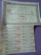 ACTIONS De 250 FRS Au PORTEUR ( BANQUE OUSTRIC ) Siege PARIS De 1928 + COUPONS - Banque & Assurance