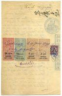 COCHINCHINE - DIVERS FISCAUX SUR DOCUMENT INDIGÉNE DE SOCTRANG LE 6/5/1897 - SUP & RARE