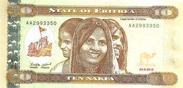 ERITREA 10 NAKFA BROWN WOMAN FRONT & BRIDGE BACK DATED 24-05-2010 P3 LIKE UNC READ DESCRIPTION - Erythrée