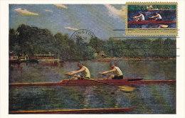 D12566 CARTE MAXIMUM CARD FD 1967 USA - ROWING BIGLEN BROTHERS - PAINTING CP ORIGINAL - Rowing