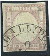ANTICHI STATI - PROVINCE NAPOLETANE  -   N° 21c -  5 GR. LILLA CHIARO  - USATO - DIFETTOSO - ANNULLO LEGGIBILE GALLIPOLI - Naples