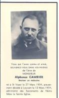 BELGIQUE - LOUVAIN - SAINT VAAST -  Alphonse CAMBIER - Docteur En Médecine - Avvisi Di Necrologio
