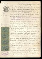 PAPIER TIMBRE FRANCE 1892 Fiscaux , Huissier  :E.TAILLEUX  Document D´Etude ( Seine Maritime LE HAVRE ) DE BOISHEBERT - Decrees & Laws
