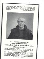 BELGIQUE - AUDENARDE - BESERE - BRUGES - - GAND - Réverend Père Gabriel De Sainte Marie Madeleine - Adrien Devos - Obituary Notices