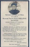 HAUTE NORMANDIE - 76 - SEINE MARITIME - BRACHY - Veuve Jules Philippe  Née Boulet - Obituary Notices