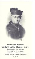 CANADA - QUEBEC - Cardinal Jean-Marie Rodrigue Villeneuve - Ramona Convent Alhambra California - Todesanzeige
