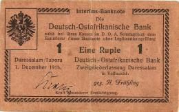GERMANY DEUTSCH-OSTAFRIKANISCHE 1 RUPIE EMBLEM FRONT & MOTIF BACK DATED 1-12-1915 P.16 VF READ DESCRIPTION CAREFULLY !!! - Deutsch-Ostafrikanische Bank