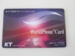Korea Prepaid Phonecard With Magnetic On Reverse,worldPhone+card,used - Korea (Zuid)