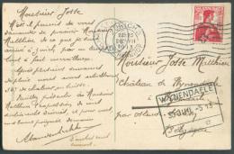 SUISSE 10c. Rouge Obl. Mécanique De ZÜRICH BAHNHOF Sur C.P.  Du 26-VII-1913 Vers Le Chateau De WYNENDAELE (cachet Ferrov - Railway