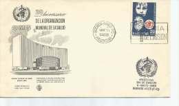 ORGANIZACION MUNDIAL DE LA SALUD  XX ANIVERSARIO  SPECIAL COVER  SOBRE  FDC SELLO MATASELLO OHL