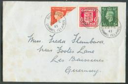 GB ½p. (Georges VI) + ½timbre Coupé Diagonalement En AFFRANCHISSEMENT MIXTE Avec GUERNSEY 1p. Rouge, Obl. Sc GUERNSEY Ch - Guernesey