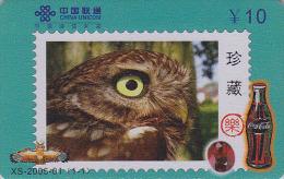 Télécarte Chine - Oiseau HIBOU Chouette - OWL Bird Stamp Phonecard - EULE Telefonkarte & COCA COLA - 2299 - Eulenvögel