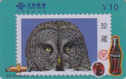 Télécarte Chine - Oiseau HIBOU Chouette - OWL Bird Stamp Phonecard - EULE Telefonkarte & COCA COLA - 2302 - Eulenvögel