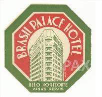 BELO HORIZONTE ♦ MINAS GERAIS ♦ BRASIL PALACE HOTEL ♦ VINTAGE LUGGAGE LABEL ♦ 2 SCANS - Hotel Labels