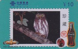 Télécarte Chine - Oiseau HIBOU Chouette - OWL Bird Stamp Phonecard - EULE Telefonkarte & COCA COLA - 2303 - Timbres & Monnaies