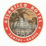 BRASIL ♦ SANTOS ♦ ATLANTICO HOTEL ♦ VINTAGE LUGGAGE LABEL ♦ 2 SCANS - Hotel Labels