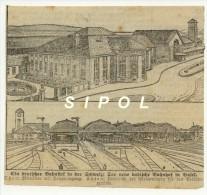Issu D Un Journal Allemand  De 1913 Der Neue Badische Bahnhof In Basel- Gare De Bale - Coupure De13 X 12 Cm - Revues & Journaux