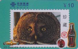 Télécarte Chine - Oiseau HIBOU Chouette Timbre - OWL Bird Stamp Phonecard - EULE Telefonkarte & COCA COLA - 2306 - Eulenvögel