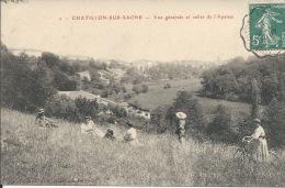 CHATILLON-sur-SAONE (88) - Vue Générale Et Vallée De L'Apance --Personnages Sur L'herbe - Vélo - 1910 - Epinal