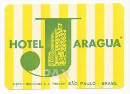 BRASIL ♦ SÃO PAULO ♦ HOTEL JARAGUÁ ♦ VINTAGE LUGGAGE LABEL ♦ 2 SCANS - Hotel Labels