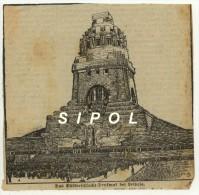Issu D Un Journal Allemand Années  1914 Das Völkerschlacht Denkmal Bei Leipzig Coupure De 13 X 13 Cm - Revues & Journaux